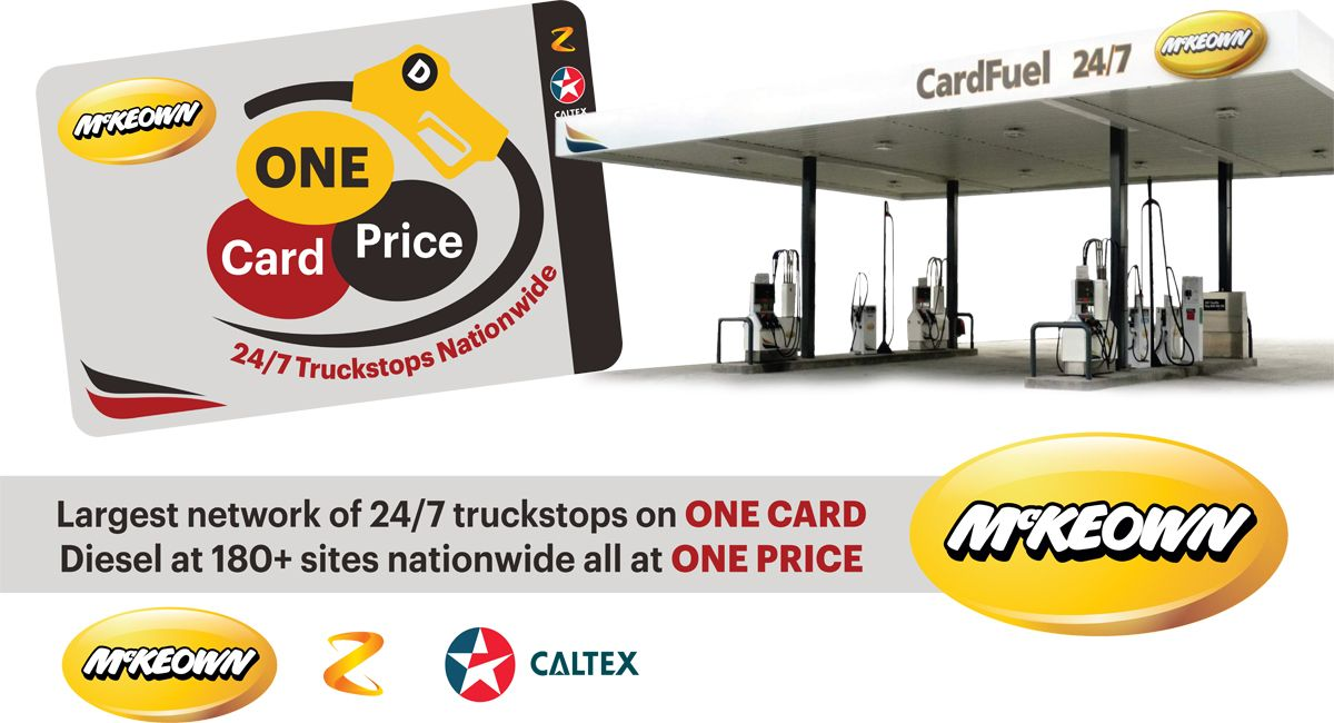 McKeown CardFuel - The largest single card Truck Stop Network with over 104 North and 84 South Island sites.